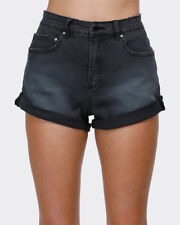 "Billabong Shorts Denim Ladies Size 8 Womens ""overdrive"" Black Rolled"