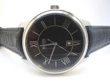 Hugo Boss 1512974 Black Dial Black Leather Strap Mens Watch (16C)