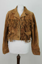 REAL LEATHER Brown Tassel Jacket size M