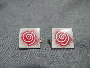 Vintage MCM modernist red & gray enamel copper appliques crafts jewelry making