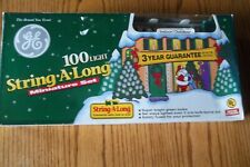Vintage Ge 100 Light String A Long Christmas Lights 46 Ft Mini Set Green Bulbs
