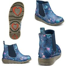 Heavenly Feet Womens Wide E Fit Chelsea Boots Floral Blue Ankle Shoes All Sizes