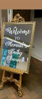 Personalised Baby Shower Custom Venue Welcome Decor Mirror Sticker Vinyl Decal