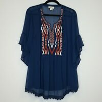 Style & Co Womens Top Embroidered Yoke Sheer Blouse with Cami Navy Blue $54