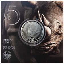 Südafrika Big Five Nashorn 2020 im Blister 1 oz 999 Silbermünze Auflage 15.000
