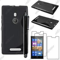 Housse Etui Coque Silicone S-line Noir Nokia Lumia 925 + Stylet + 3 Film écran