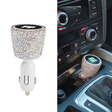 Rhinestones Dual USB Car Charger Adapter Cigarette Socket Lighter For Phones