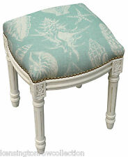 STOOL - SEASHELL UPHOLSTERED STOOL - VANITY SEAT - AQUA BLUE LINEN SEAT CUSHION