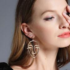 Anthropologie Oversized Gold Face Mask Tribal Statement Dangle Earrings Eye