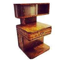 Antique Art Deco Burl Display Cabinet Nightstand Bedside Table Sculpted OOAK