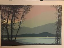3 Sailboats at Sunset, Signed Serigraph A/P. Artists Unknown