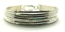 Sterling Silver 925 Multiple Strand Layer Box Style Chain Tennis Bracelet