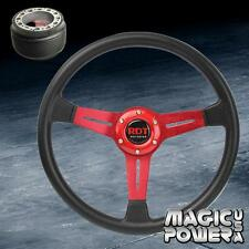 Red PU Deep Dish Steering Wheel & For Hub Adapter For Toyota Corolla 1984-2014
