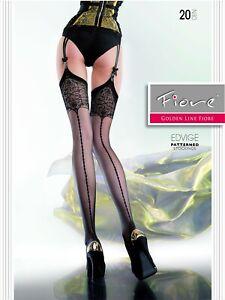 Fiore Edvige 20DEN Suspender Stockings Black, White, Natural S-XL Nylons