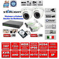 KIT VIDEOSORVEGLIANZA  3000TVL DVR 4 Canali + 4 TELECAMERE Sony 3000 MPX