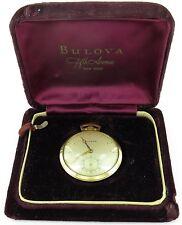 RARE 1940's BULOVA 17J 17AH 14K SOLID GOLD POCKET WATCH ORIGINAL DISPLAY CASE!