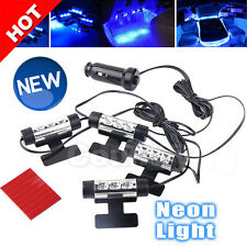 OZ Bright Blue LED Car Interior Neon Light Kit Glow Lamp Charger 12V