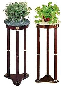 Green or White Marble Round Plant / Telephone / Vase Stand with Cherry Wood