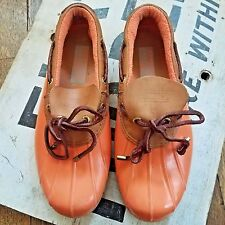 Sperry for J Crew Women's 6 Top-Sider Waterproof Rubber Boot Orange Boat Shoes