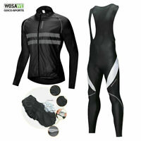 WOSAWE Men's Cycling Jersey Bib Pants Set Bike Jersey Reflective Padded Tights