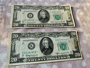 LOT 2 X 20 $ FEDERAL RESERVE STAR NOTE REPLACEMENT 1950C 1950D