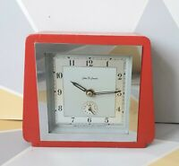 Retro 50's table alarm clock John D Francis red oak Vintage Working good conditi