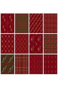 CHRISTMAS POINSETTIA(RED)  BACKING PAPERS - 4/12 x A4 Sheets- 160gsm