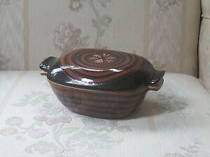 Glidden Vintage Pottery Boston Brown Tiger black Fong Chow CASSEROLE lid ROASTER