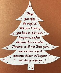 Christmas Tree card topper pk5 choose from 4 verses & your colour foiled die cut