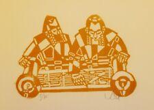 """Gravure sur bois, XX, """"Hommes lisant la Torah"""" signée,numérotée au crayon 9 /75."""