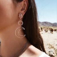 Women Rhinestone Jewelry Dangle Sun Moon Star Gold Long Drop Earrings