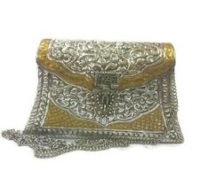 Vintage Sling Clutch Bridal bags White Metal clutch Vintage Handmade Brass purse
