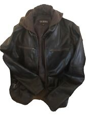 Rare Vintage Guess Leather Jacket Bomber Spell Out Logo Men Size XL Top Gun 👀!