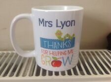 Personalised Thank You Teacher Mug Gift Present Thanks For Helping Me Grow