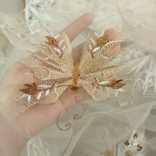 Butterfly Embroidery Lace Fabric Mesh Tulle Bridal Wedding Dress Material Retro