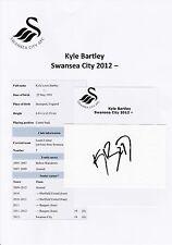 KYLE BARTLEY SWANSEA CITY 2012- ORIGINAL HAND SIGNED CUTTING/CARD