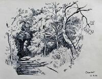 GEORGE HOLLOWAY - CROM HALL - LISTED ARTIST DRAWING 1961 - FREE SHIP IN US  !!!