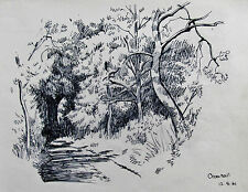 GEORGE HOLLOWAY - CROM HALL - LISTED ARTIST DRAWING 1961 - FREE SHIP !!!
