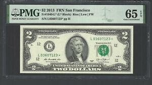 United State -Federal Reserve Note 2 Dollars 2013 F1940-L* (L* Block) Grade 65