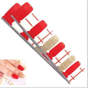 Jaysea Nails Polish Strips - Color Red Gold Line Street Nail Art - B4G1 Free!