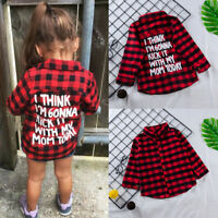 Kids Long Sleeve Toddler Baby Plaid Shirt Blouse T-shirt Tees Tops Girls Clothes