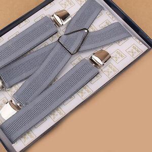 Elastic Braces Mens Womens Unisex Trouser Adjustable X-Back Suspenders Clip on