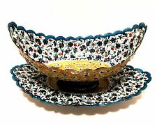 Antique Persian Copper Enamel Hand Painted Kashkul Bowl with Underplate