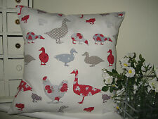 New Cushion Cover Ducks Chickens & Geese Country Kitchen Red & white Same Backs