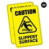 2 x Caution Slippery Surface Sticker Decal Safety Sign Car Vinyl #5433K