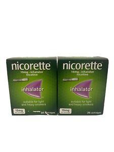 2x NICORETTE Inhalator 15mg - 36 Cartridges 2 Pack 03/2023 - Brand New