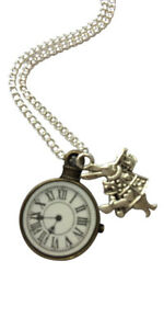 """Alice In Wonderland Clock And Rabbit Necklace - 18"""" Silver Plated Chain"""