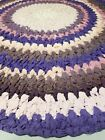 """Vtg Handmade Circle Cotton Braided Rug 40.5"""" Diameter Colorful No defects"""