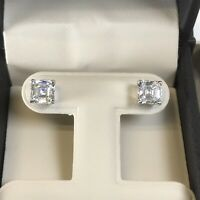 2CT Diamond Studs Earrings Asscher Princess Square Cut Man Made 14k Solid Gold