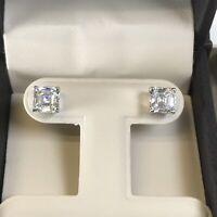 2CT Diamond Studs Earrings Asscher Princess Square Cut Man Made 14kSolid Gold